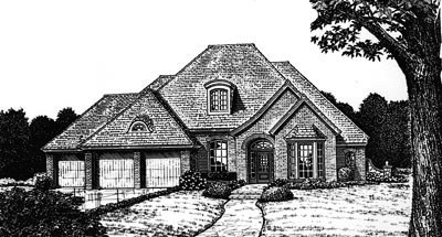 French-country Style Home Design Plan: 8-759