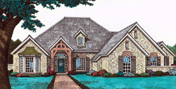 English-Country Style Home Design Plan: 8-804