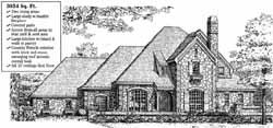 English-Country Style Home Design Plan: 8-871