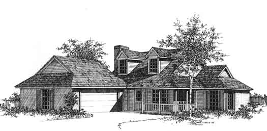 Country Style Home Design Plan: 8-906