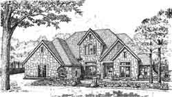 English-Country Style Home Design Plan: 8-922