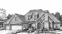 English-Country Style Home Design Plan: 8-967