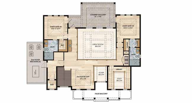 Upper/Second Floor Plan: 82-124
