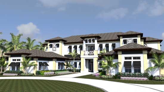 Sunbelt Style Home Design Plan: 82-128