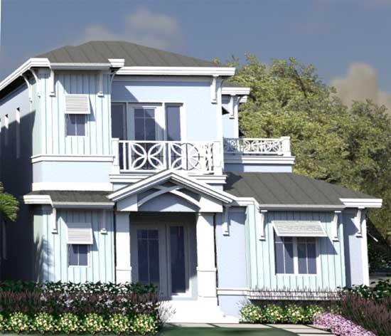 Sunbelt Style Home Design Plan: 82-143
