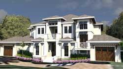 Florida Style Home Design Plan: 82-144