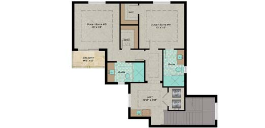 Upper/Second Floor Plan:82-145
