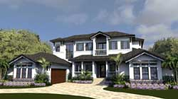 Florida Style Home Design Plan: 82-148