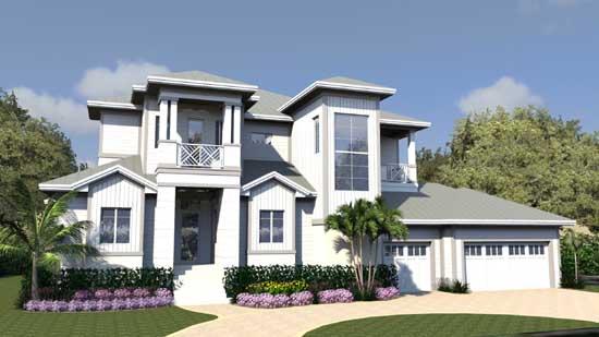 Florida Style Home Design Plan: 82-152