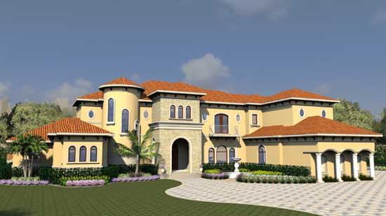 Mediterranean Style Home Design Plan: 82-156