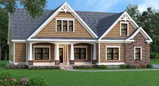 Shingle Style Home Design Plan: 84-138
