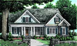 Southern Style Home Design Plan: 85-102