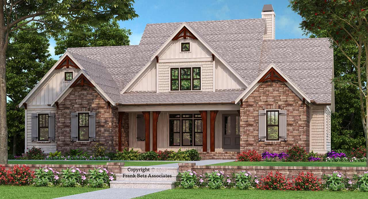 Modern-farmhouse Style Home Design Plan: 85-127