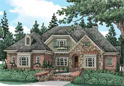 English-Country Style Home Design Plan: 85-145