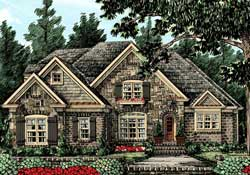 English-Country Style Home Design Plan: 85-155