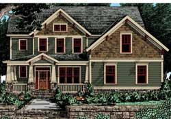 Craftsman Style Home Design Plan: 85-347