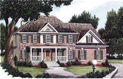 Southern-Colonial Style Home Design Plan: 85-388