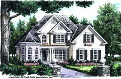 European Style Home Design Plan: 85-500