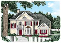 Georgian Style Home Design Plan: 85-653