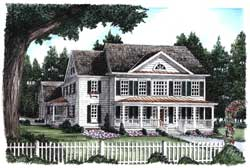 New-England-Colonial Style Home Design Plan: 85-697