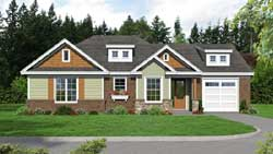 Craftsman Style Home Design Plan: 87-128