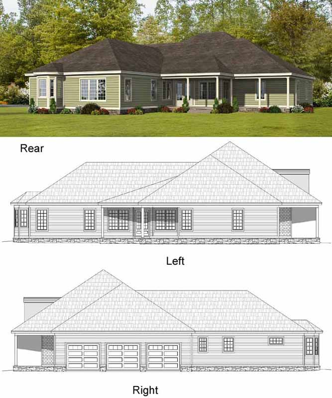 Rear Elevation Plan: 87-153
