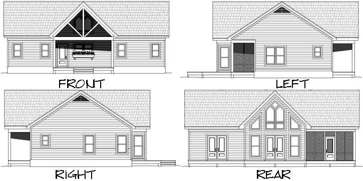 Rear Elevation Plan: 87-186