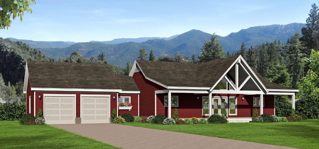 Ranch House Plan - 2 Bedrooms, 2 Bath, 1650 Sq Ft Plan 87-203 on l-shaped range home plans, l shaped garage plans, indoor range plans, steel frame homes floor plans,