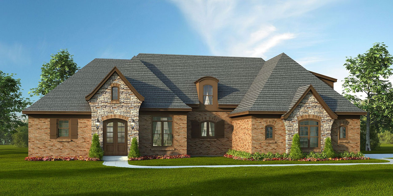 French-country Style Home Design Plan: 87-221