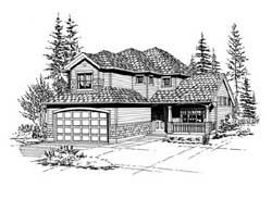 Northwest Style Home Design Plan: 88-184