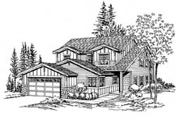 Craftsman Style Home Design Plan: 88-186