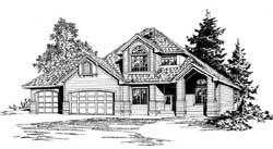 Northwest Style Home Design Plan: 88-220