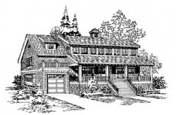 Shingle Style Home Design Plan: 88-232