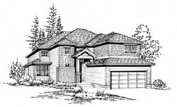Northwest Style Home Design Plan: 88-286