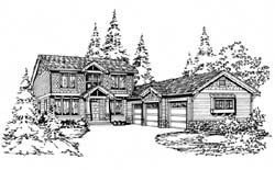 Northwest Style Home Design Plan: 88-291