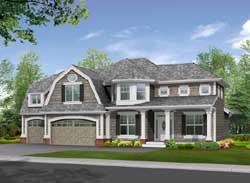 Hampton Style Home Design Plan: 88-333
