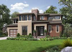 Contemporary Style Home Design Plan: 88-366