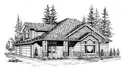 Northwest Style Home Design Plan: 88-367