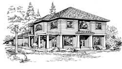 Northwest Style Home Design Plan: 88-389