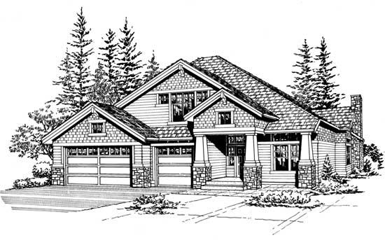 Craftsman Style Home Design Plan: 88-405