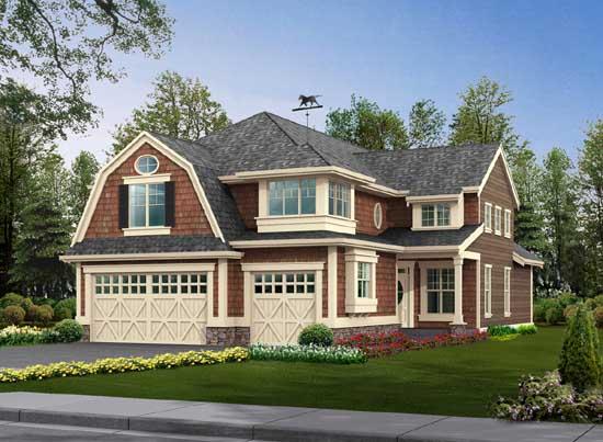 Shingle Style Home Design Plan: 88-411