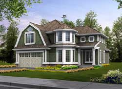 Shingle Style Home Design Plan: 88-413