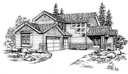 Northwest Style Home Design Plan: 88-446