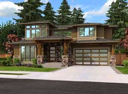 Prairie Style Floor Plans Plan: 88-458