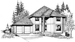 European Style Home Design Plan: 88-460