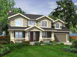 Craftsman Style Home Design Plan: 88-550