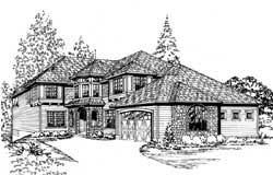 Hampton Style Home Design Plan: 88-554