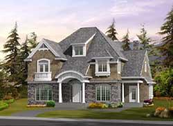 Hampton Style Home Design Plan: 88-566