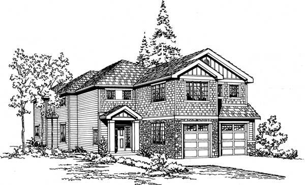 Shingle Style Home Design Plan: 88-594
