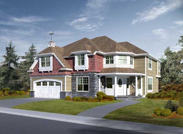Hampton Style Home Design Plan: 88-657